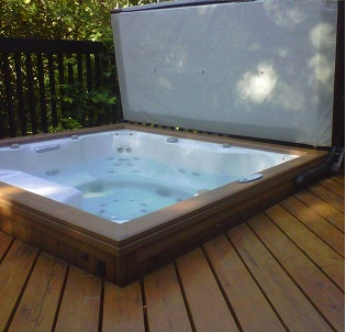 Outdoor deck hot tub and spa installation 5