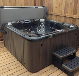 Backyard deck hot tub and spa installation 6