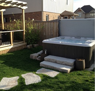 Backyard hot tub and spa installation 7