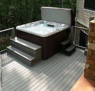Outdoor deck hot tub and spa installation 9